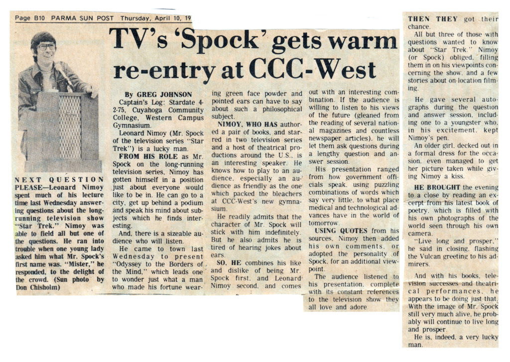 Leonard Nimoy - Spock - Article
