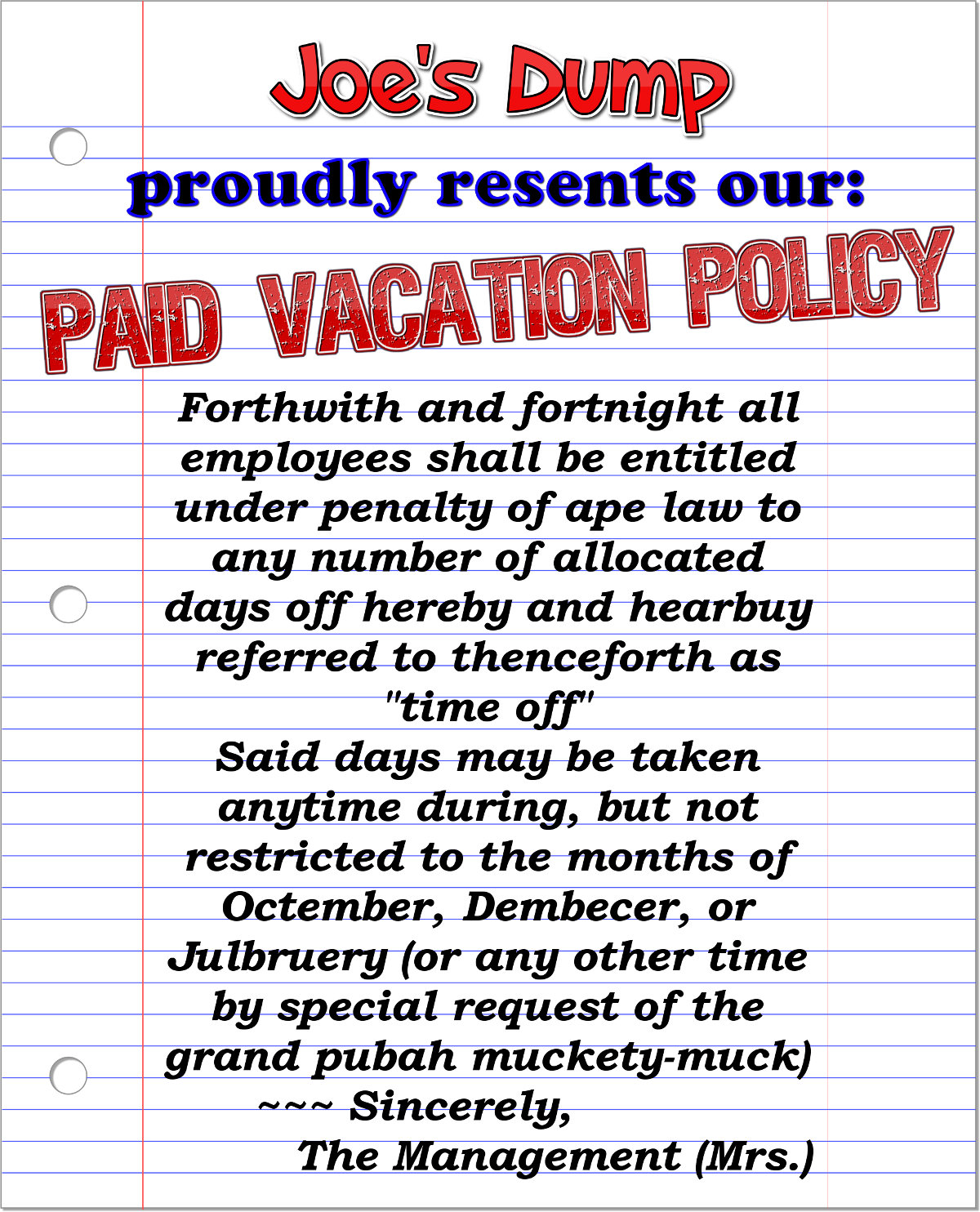 Joe's Dump: Paid Vacation Policy