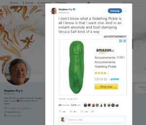 Yodeling Pickle - Stephen Fry Tweet 20180430