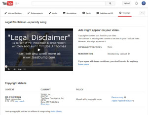 YouTube Copyright Screen