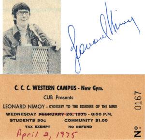 Leonard Nimoy - Spock - Autograph - Ticket